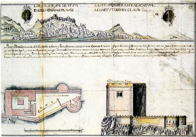 Detalle del plano de Jerónimo Martínez de Lara con tina panorámica de Loria y la pínula y alzado de la cindadela del castillo..jpg